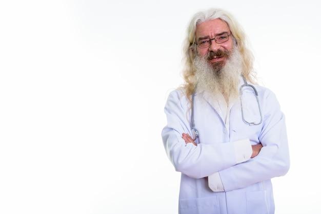 Retrato, de, un, senior hombre barbudo, doctor, llevando, anteojos
