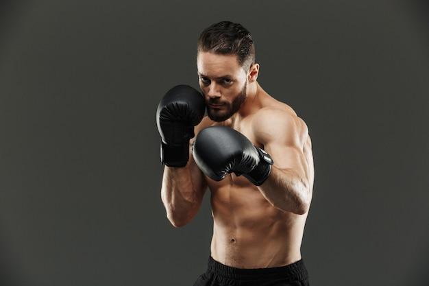 Retrato de un serio deportista musculoso boxeo