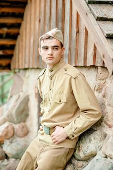 Retrato de sodat, guerra, uniforme militar, servicio militar