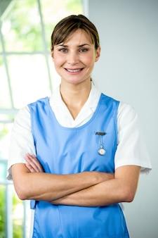 Retrato, de, sonriente, enfermera
