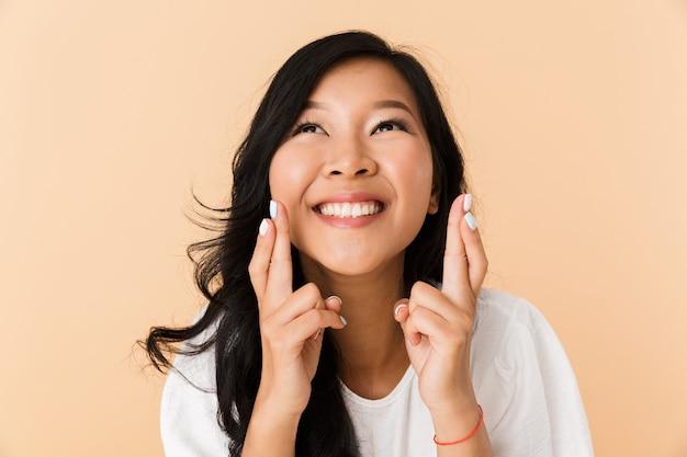 Retrato, de, un, sonriente, joven, mujer asiática