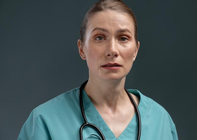 Retrato, de, sufrimiento, doctora