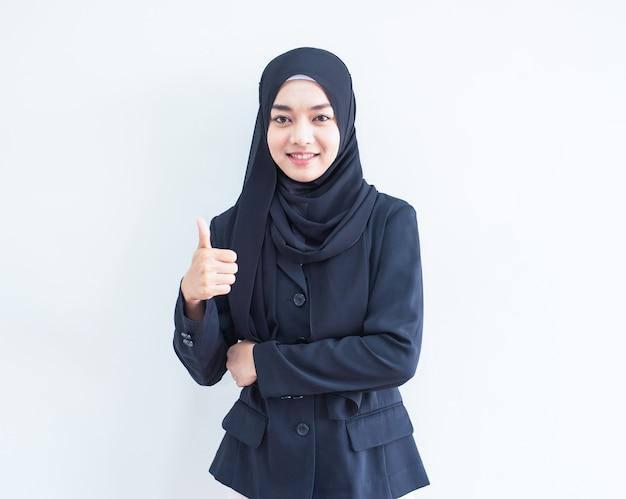 Retrato de trabajo de niña musulmana