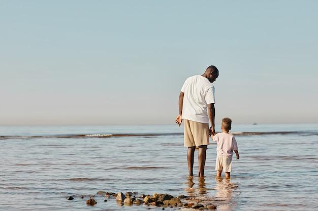 Retrato de vista posterior mínima de feliz joven padre e hijo disfrutando de paseo en la playa juntos y de pie ...