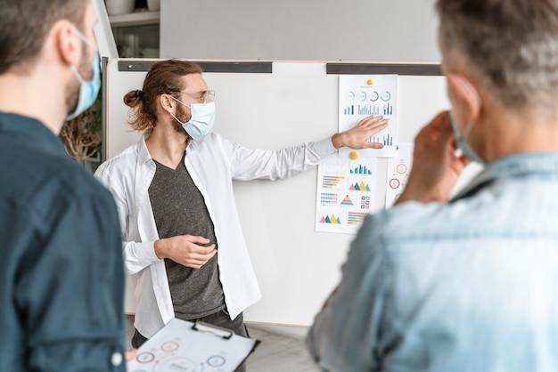 Reunión de empresarios en la oficina con máscaras