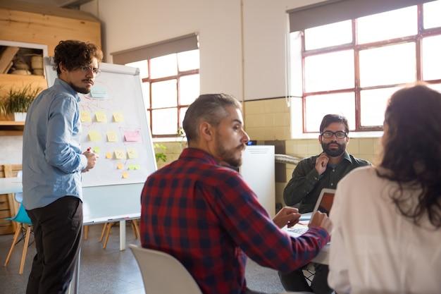 Reunión del equipo de inicio y discusión de ideas en la sala de juntas