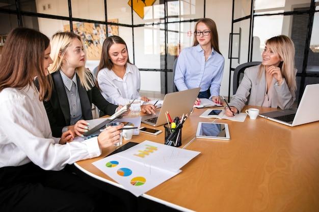 Reunión de negocios con el equipo de mujeres.