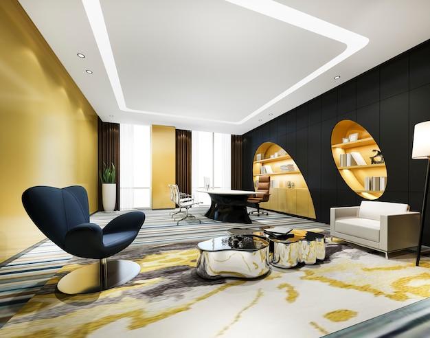 Reunión de negocios de lujo y sala de trabajo curva amarilla en la oficina ejecutiva con estantería