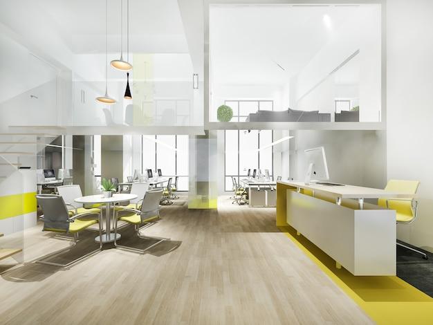 Reunión de negocios de representación 3d y sala de trabajo amarilla con escalera