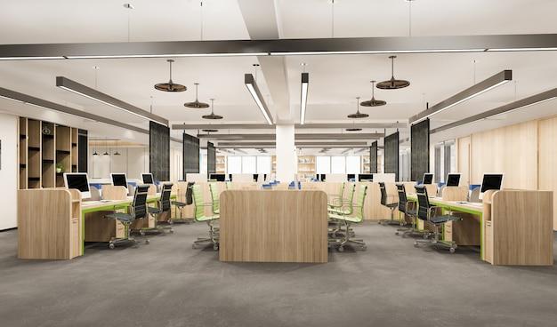 Reunión de negocios de representación 3d y sala de trabajo en edificio de oficinas