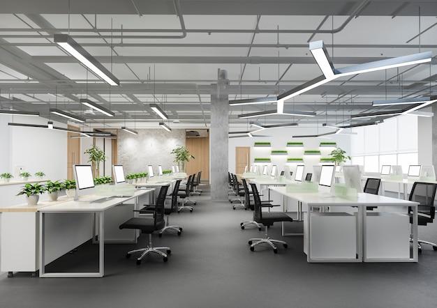 Reunión de negocios y sala de trabajo en edificio de oficinas con decoración vegetal