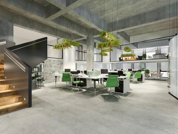 Reunión de negocios y sala de trabajo verde en edificio de oficinas