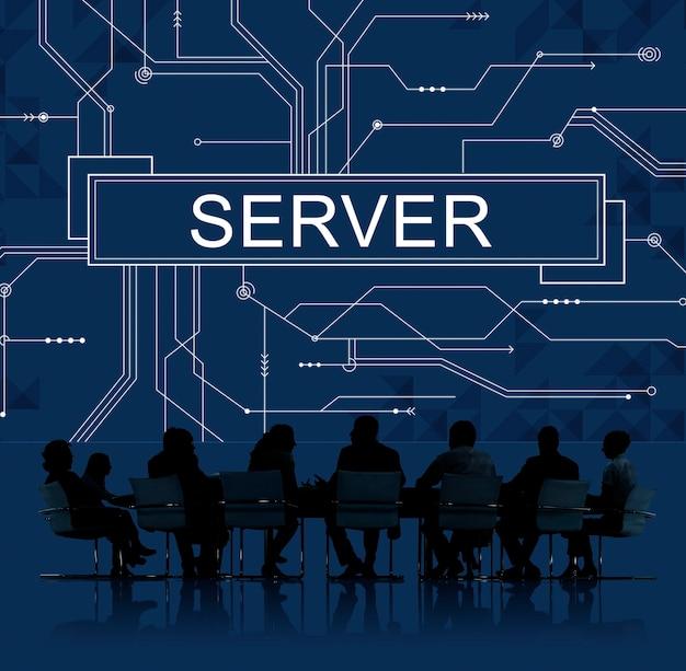 Reunión de negocios sobre servidores