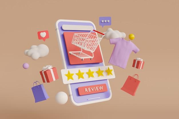 Revise su representación 3d de shoping Foto Premium