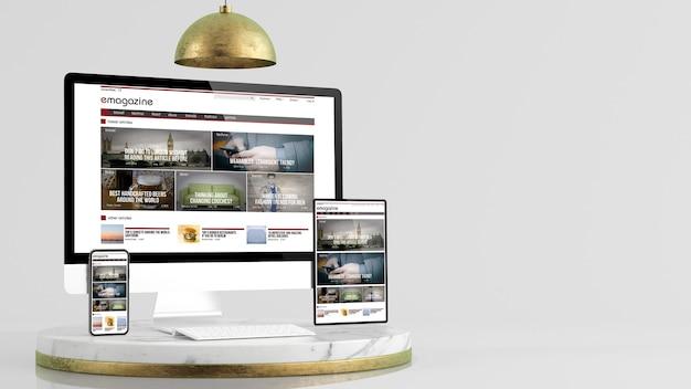 Revista sitio web de diseño receptivo en la colección de dispositivos en una elegante plataforma de representación 3d