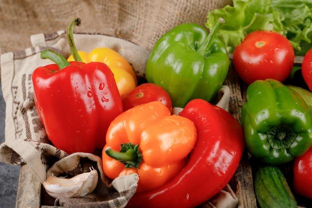 Ricos pimientos de color con tomate y ajos.