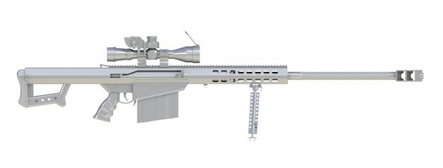 Rifle de francotirador de plata sobre blanco