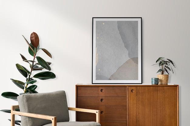Rincón de lectura moderno de mediados de siglo en un apartamento