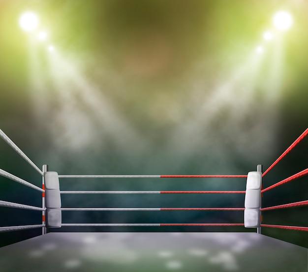 Ring de boxeo con iluminación por focos.