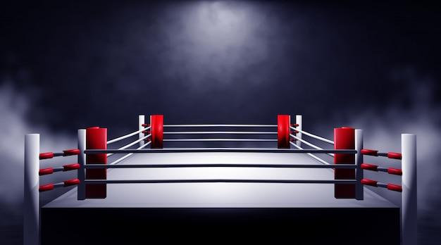 Ring de boxeo profesional. render 3d
