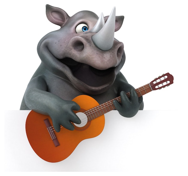 Rinoceronte divertido - ilustración 3d