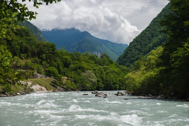 Un río de montaña atraviesa un bosque verde a lo largo de las montañas. abjasia
