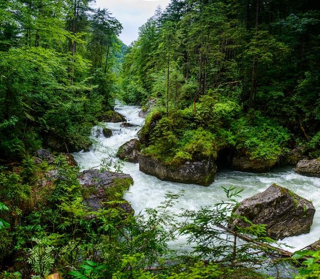 Río rápido en las montañas