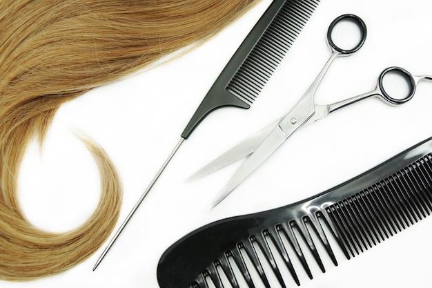 Rizo de cabello y peluquería conjunto aislado en blanco
