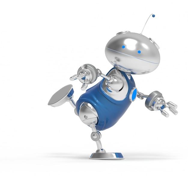 Robot 3d corriendo. aislado. representación 3d