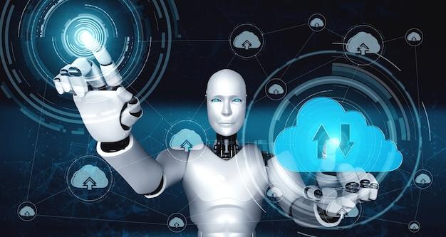 Robot ai que usa tecnología de computación en la nube para almacenar datos en un servidor en línea