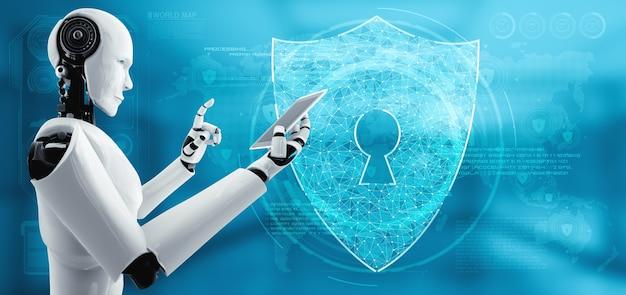 Robot ai que utiliza seguridad cibernética para proteger la privacidad de la información. concepto futurista de prevención del ciberdelito mediante inteligencia artificial y proceso de aprendizaje automático. ilustración de renderizado 3d.