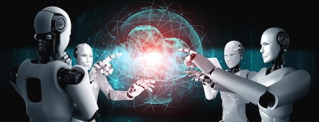 Robot ai que utiliza tecnología de computación en la nube para almacenar datos en un servidor en línea. concepto futurista de almacenamiento de información en la nube analizado por proceso de aprendizaje automático. ilustración de renderizado 3d.