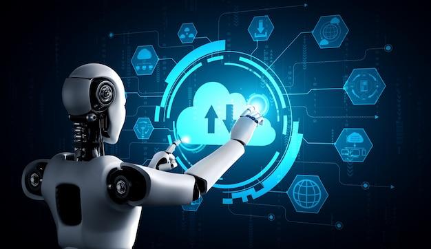 Robot ai que utiliza tecnología de computación en la nube para almacenar datos en un servidor en línea
