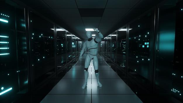 El robot bailarín en la sala de servidores.