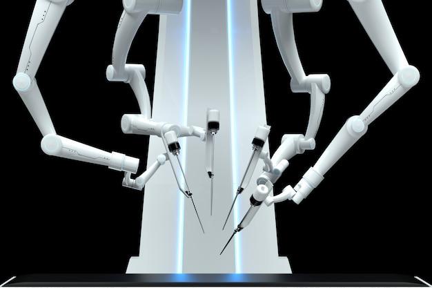Robot cirujano, equipo robótico, manipuladores aislados en una pared oscura. tecnologías, futuro de la medicina, cirugía. render 3d, ilustración 3d.