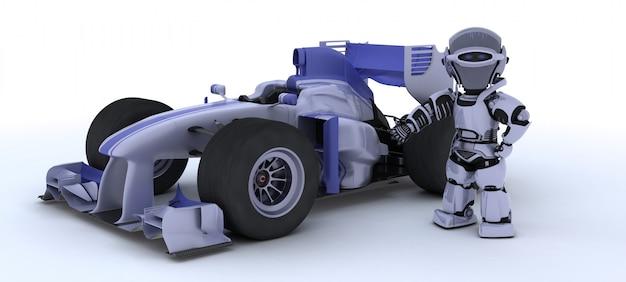 Robot y un coche