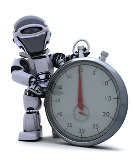 Robot con un cronómetro tradicional de cromo
