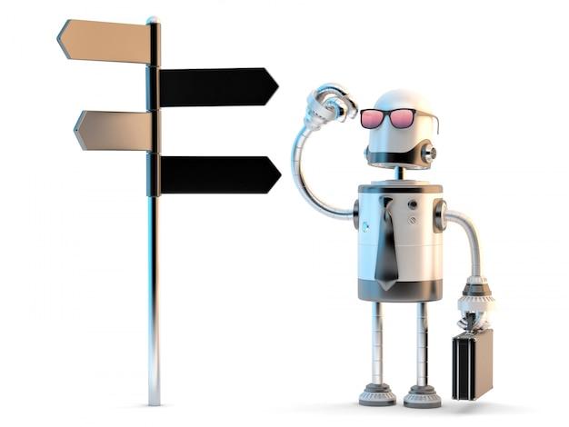 Robot empresario de pie confundido cerca de poste de la muestra