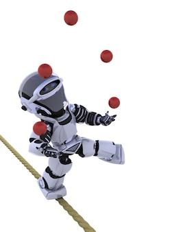 Robot en equilibrio sobre una cuerda con pelotas rojas