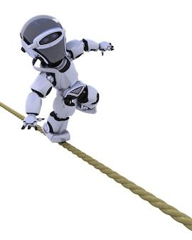 Robot en equilibrio sobre una cuerda