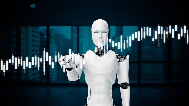 Robot futurista, cgi de inteligencia artificial para el mercado bursátil