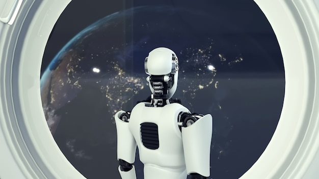 Robot futurista, inteligencia artificial cgi dentro de la nave espacial en el universo espacial