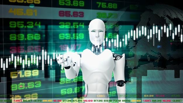 Robot futurista, inteligencia artificial cgi para el mercado de valores