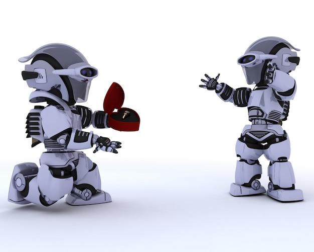Robot haciendo una propuesta de matrimonio a otro robot
