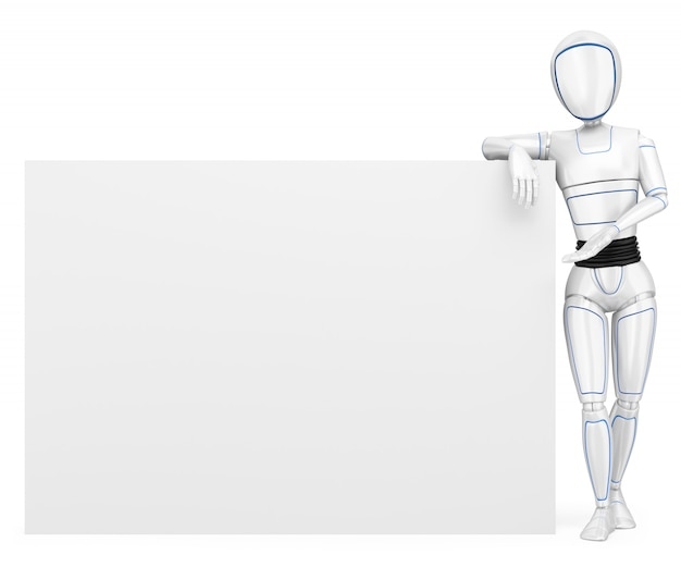 Robot humanoide 3d apoyado en un cartel en blanco