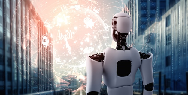 Robot humanoide ai mirando la pantalla del holograma que muestra el concepto de comunicación