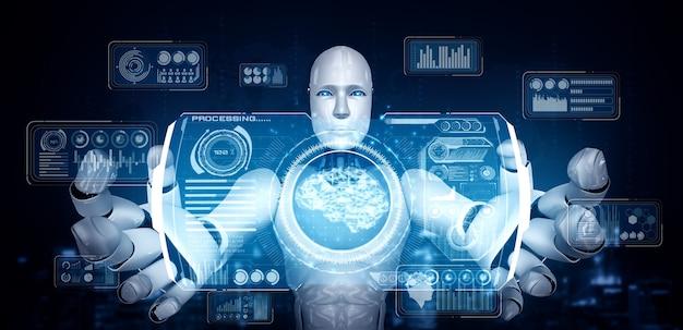 Robot humanoide ai con pantalla de holograma virtual que muestra el concepto de big data