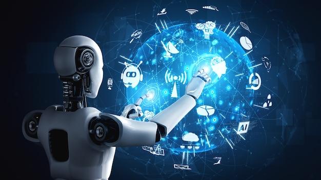 Robot humanoide ai con pantalla de holograma