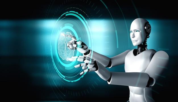 Robot humanoide ai tocando la pantalla de holograma virtual que muestra el concepto de cerebro ai