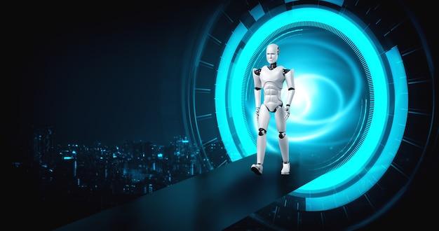 Robot humanoide en un mundo de fantasía de ciencia ficción